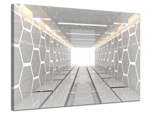 Leinwandbild 3D Architektur Tunnel Digital Raum Waben Tech Grau 1-teilig 121010