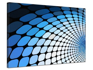 Leinwandbild Digital Art Retro Muster Design Tunnel Blau Weiss 1-teilig 121063