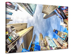 Leinwandbild Abstrakt Stadt New York Fisheye Time Square Bunt 1-teilig 121002
