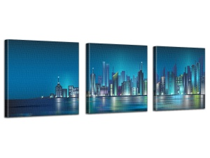 Leinwandbild Digital Art New York Skyline Nacht Lichter Blau 3-teilig 121140