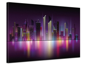 Leinwandbild Digital Art Stadt Skyline New York Lichter Nacht 1-teilig 121090