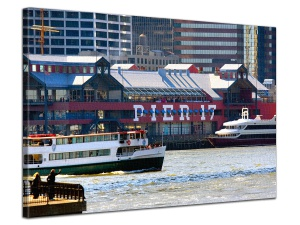 Leinwandbild Stadt Schiffe Pier 17 Downtown New York East River 1-teilig 121235