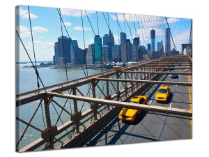 Leinwandbild Stadt Brooklyn Bridge Manhattan Skyline Taxi Cabs 1-teilig 121238