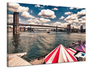 Leinwandbild Stadt Manhattan Brooklyn Bridge Pier 17 East River 1-teilig 121245