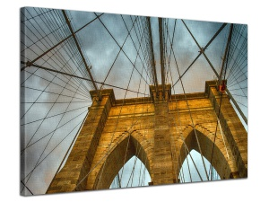 Leinwandbild Stadt Architektur Detail Brooklyn Bridge Wolken 1-teilig 121252