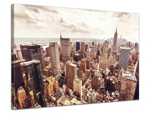 Leinwandbild Stadt Lower Manhattan Skyline Empire State Sepia 1-teilig 121254