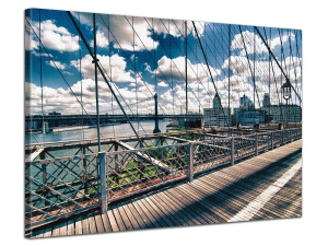 Leinwandbild Stadt Architektur Detail Brooklyn Bridge Retrostil 1-teilig 121260