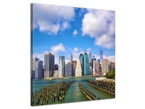 Leinwandbild Stadt Lower Manhattan Skyline Brooklyn Bridge Park 1-teilig 121264
