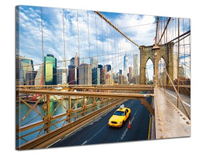Leinwandbild Stadt Taxi Cabs Manhattan Skyline Brooklyn Bridge 1-teilig 121266