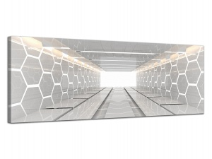 Leinwandbild 3D Architektur Tunnel Digital Raum Waben Tech Grau Panorama 121427