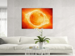 Leinwandbild Digital Art Sonne Eruption Sunflares Closeup Gelb 1-teilig 121012