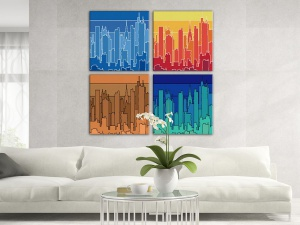Leinwandbild Digital Art Skyline New York Outline Retro Bunt 4-teilig 121145