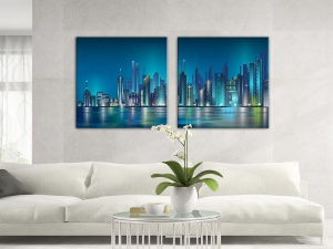 Leinwandbild Digital Art New York Skyline Nacht Lichter Blau 2-teilig 121127