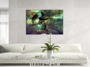 Leinwandbild Digital Art Future Space Spirit Design Blau Gelb 1-teilig 121094