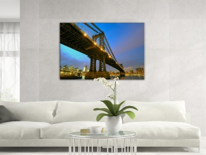 Leinwandbild Stadt Manhattan Bridge Brooklyn Bridge Am Abend 1-teilig 121232
