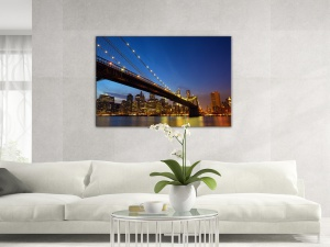 Leinwandbild Stadt Dämmerung Brooklyn Bridge Manhattan New York 1-teilig 121242