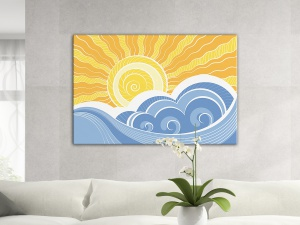 Leinwandbild Digital Art Illustration Sonne Wellen Blau Gelb 1-teilig 121382