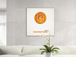 Leinwandbild Digital Art Chakra Svadhishthana Aquarell Orange 1-teilig 121391